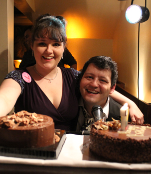 Sarah Lark and Nathan Martin with cakes